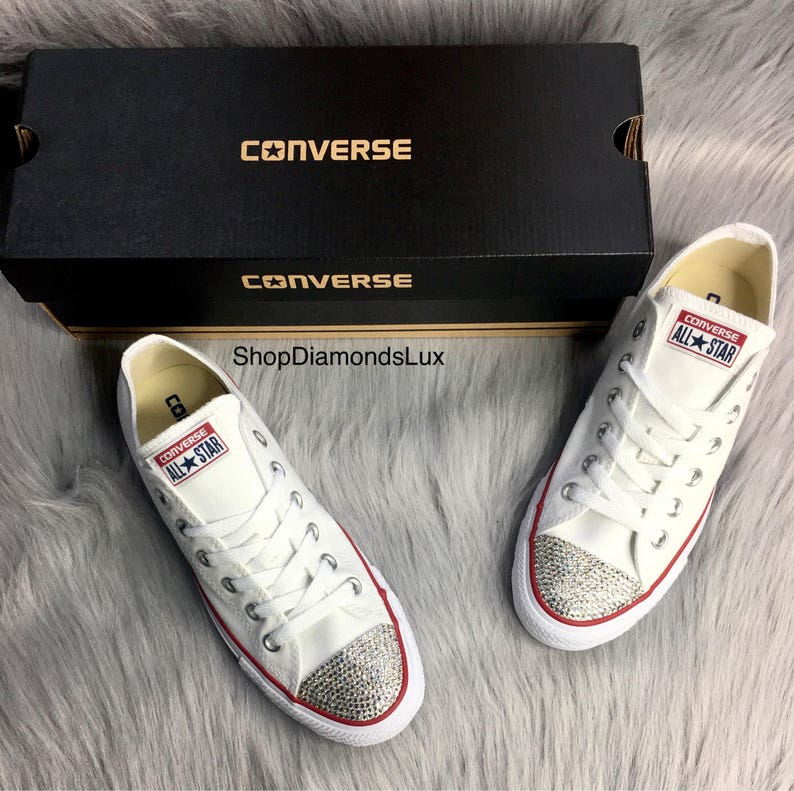 a4d459f7de6ff Bling Swarovski Crystal White Converse All Star Chucks Low Top In White  Women's Bling Diamond Sneakers
