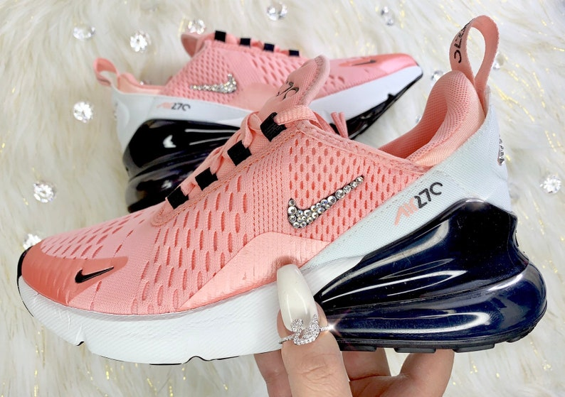 check out 5b1dc d0be7 Women's Swarovski Pink Coral Nike Air Max 270 Bling Custom Sneakers Girl's  and Women's Sizes
