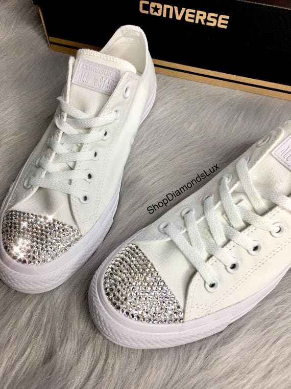 Converse All Star Swarovski Bling All mariage blanc Converse All Bling Star basse Top femmes diamant Sneakers e114b8