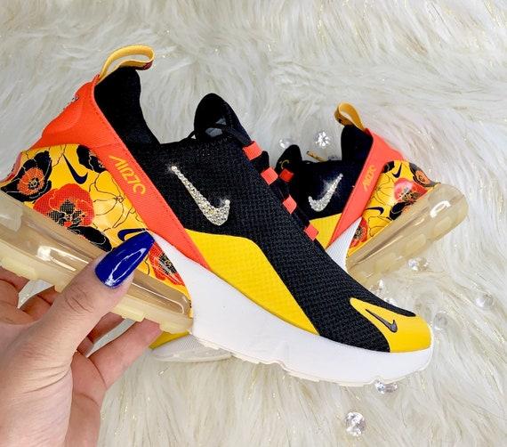 Women's Swarovski Bling Nike Air Max 270 Custom Floral Sneakers