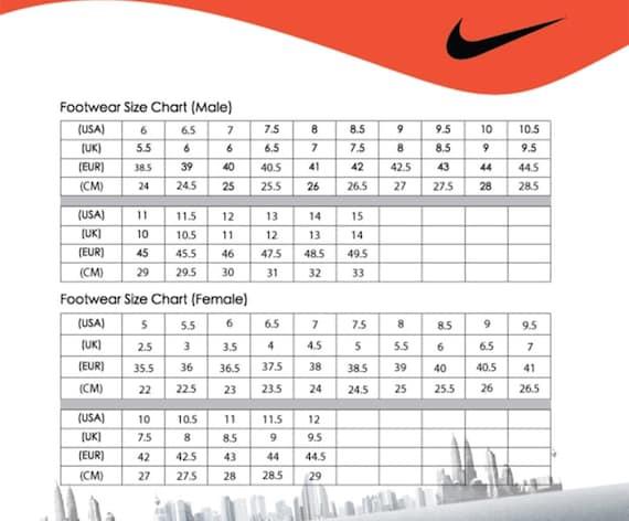 nike presto womens size chart