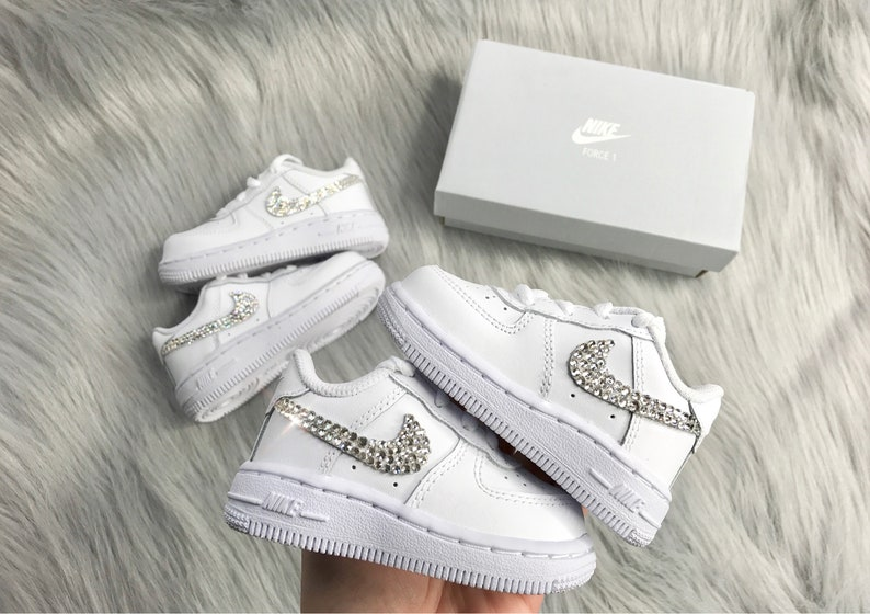 453113d96d Swarovski Nike Air Force 1 Low Baby Shoes Toddler Sneakers | Etsy