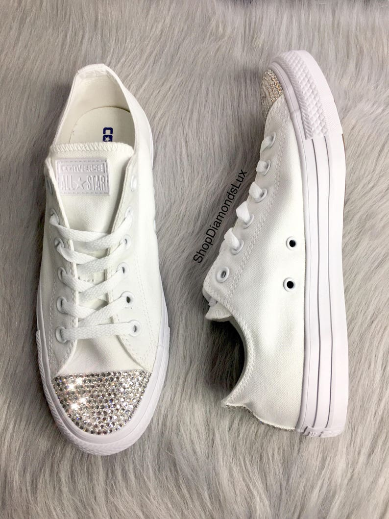 15f1a2d9f Bling Converse Swarovski Crystal White Converse All Star Low | Etsy
