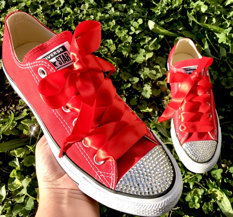bc5785f464bd6 Bling Red Converse Swarovski Crystal All Star Low Top Women's Bling Diamond  Sneakers