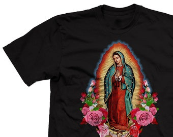 7712cbe99 Our Lady of Guadalupe T-shirt, Virgin Mary with Roses Black shirt