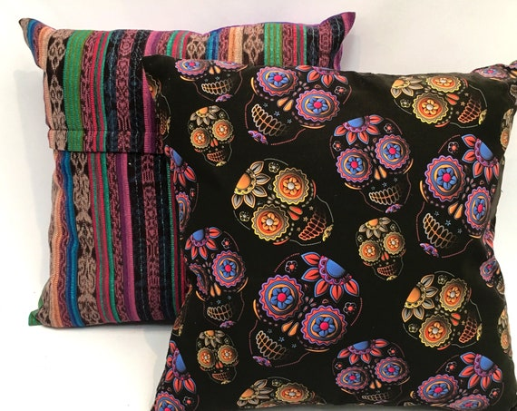 "Sugar Skull Pillow Cover, 18"" x 18"" Decorative Throw Pillow, Mexican Day of the Dead Skulls"