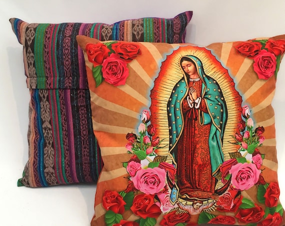 "Virgin Mary Throw Pillow Cover, 18"" x 18"" Our Lady of Guadalupe Decorative Pillow Cover"