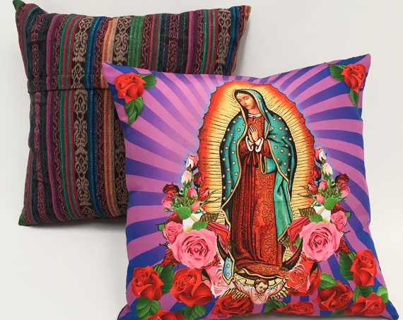 Our Lady of Guadalupe Pillow Cover, Virgin Mary with Roses Purple Decorative Pillow Cover