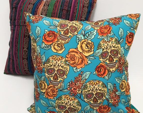 "Sugar Skull and Roses Boho Throw Pillow Cover, 18"" x 18"" Day of the Dead Decorative Pillow Cover"