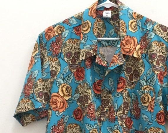 Men's Rockabilly Shirt with Sugar Skulls, Blue and Orange. Retro Casual style.