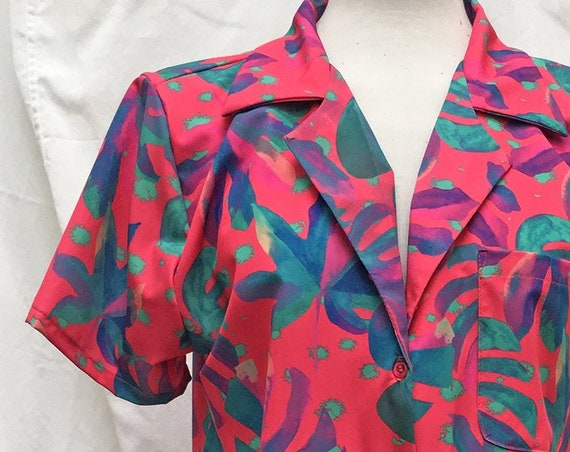 Women's Casual Shirt with Pink Floral Print