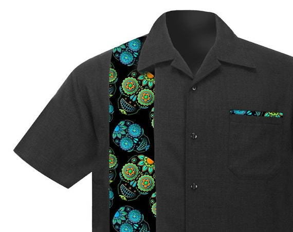 Men's Rockabilly Shirt with Sugar Skulls, Blue and Green. Retro Casual Beach style, soft Linen/Viscose.