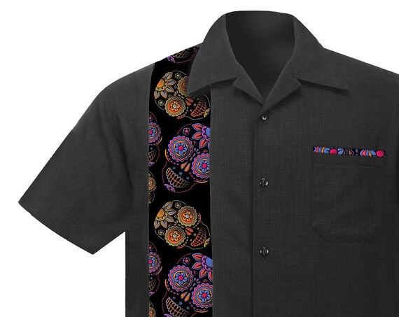 Men's Rockabilly Shirt with Sugar Skulls, Purple and Orange. Retro Casual style made of soft Linen/Viscose.