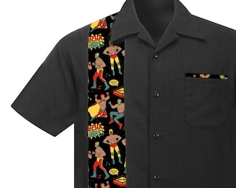 54aa92d89128 Men s Rockabilly Shirt with Lucha Libre Mexican Wrestlers. Retro Vintage  style Button Down Linen Shirt