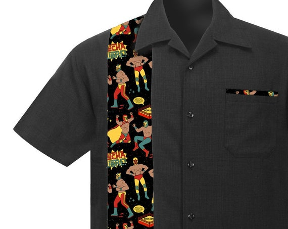 Men's Rockabilly Shirt with Lucha Libre Mexican Wrestlers. Retro Vintage style Button Down Linen Shirt