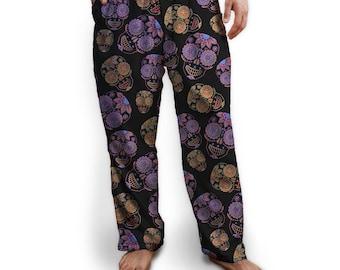 Sugar Skulls Pajama Bottom, Drawstring Pants, Black with Purple and Orange Skulls, Colorful, Soft, Lounge Pants