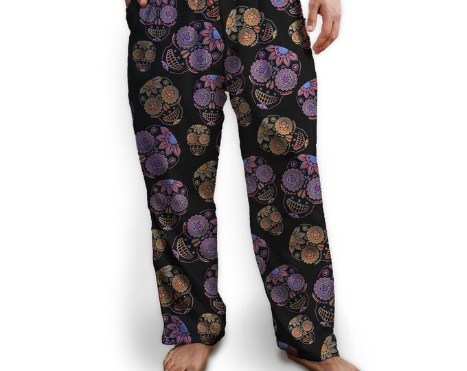 Sugar Skulls Pajama Bottom, Drawstring Pants, Black with Purple and Orange Skulls, Colorful, Soft, Lounge Pants