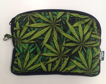 Cannabis Stash Bag - Make-up/Cosmetic Bag with handwoven traditional fabric on reverse side