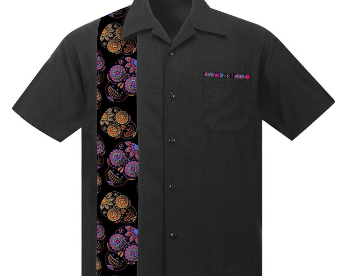 Hawaiian shirt with Sugar Skulls in Purple and Orange. Retro Beach style, Rockabilly shirt, Aloha shirt, Party shirt