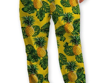Yellow Pineapple Print Lounge Pants/Pajama Bottom, Soft T-shirt Jersey with Drawstring ties,