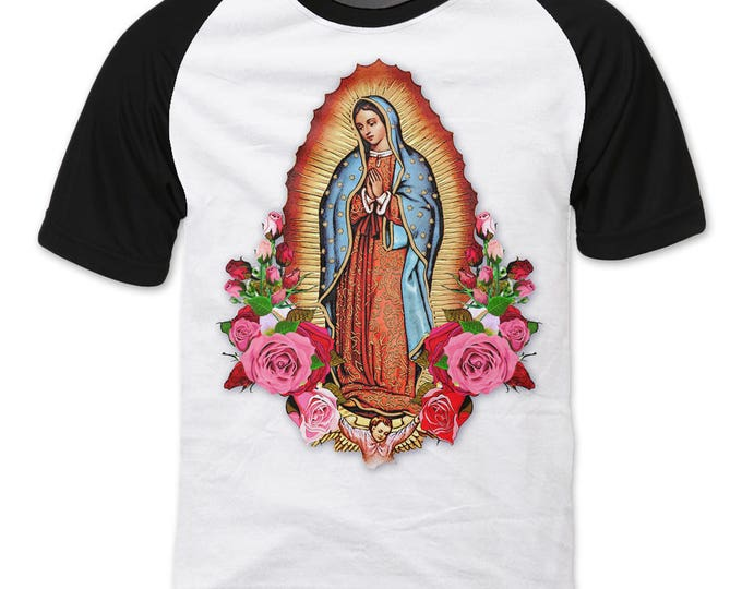 Featured listing image: Our Lady of Guadalupe, Virgin Mary, Virgen de Guadalupe raglan sleeve T-shirt