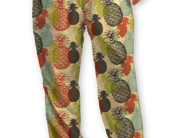 Pineapple Vintage Print Lounge Pants/Pajama Bottom, Soft T-shirt Jersey with Drawstring ties,