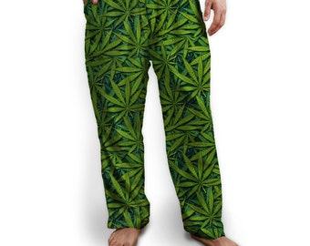Cannabis Lounge Pants, Pajama Bottom, Drawstring ties, Soft Jersey
