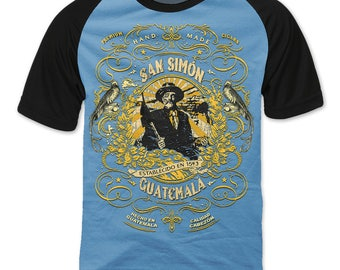 San Simón, Guatemala Cigar Label T-shirt with Raglan Sleeve