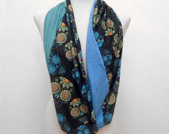 Scarf Sugar Skulls Green Blue Black Infinity Scarf Loop Scarf Day Of The Dead Scarf Dia de los Muertos Fall Scarf Gift For Women Halloween