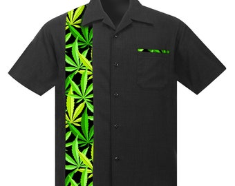 Men's Rockabilly Shirt with Cannabis Leaves Print. Retro Beach style made of soft Linen/Viscose.