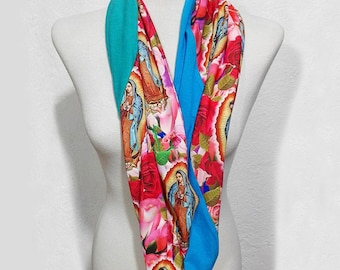 Infinity Scarf with Our Lady of Guadalupe, Virgen Guadalupe Loop Scarf, Virgin Mary, Long Circular Scarf, Fall Winter Scarf, Gift For Women