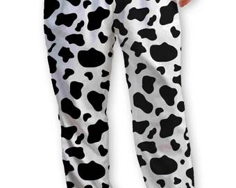 Cow Print Lounge Pants, Pajama Bottom on Soft Spun Jersey