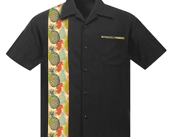 Men's Rockabilly Shirt with Vintage Pineapple Print. Retro Beach style made of soft Linen/Viscose.