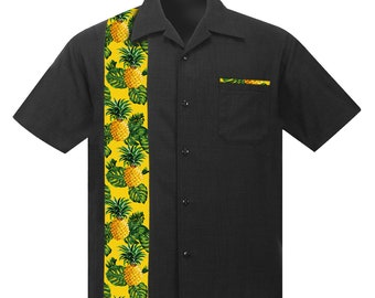 Casual Camp Collar Shirt, Black with Tropical Pineapples & Leaves. Retro Beach style, Hawaiian shirt, Aloha shirt, Party shirt