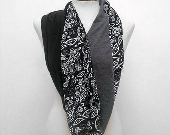 Paisley Infinity Scarf in Black and White