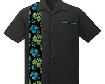 Hawaiian shirt with Sugar Skulls. Retro Beach style, Rockabilly shirt, Aloha shirt, Party shirt
