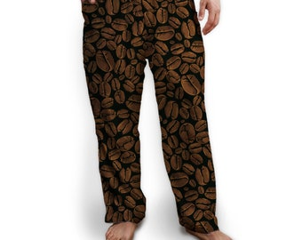 Coffee Beans Lounge Pants/Pajama Bottom, Drawstring ties, Soft Jersey