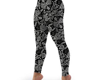 Black and White Paisley Stretch Lycra High-waist Leggings with Pocket