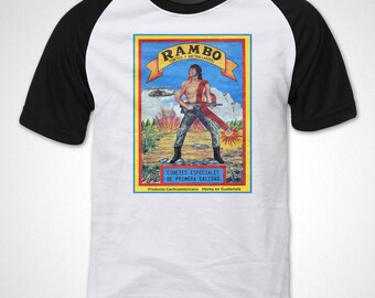 T-shirt RAMBO Guatemalan Vintage Firecracker Label Full-Color Crew Neck Raglan Sleeve T-shirt Black and White