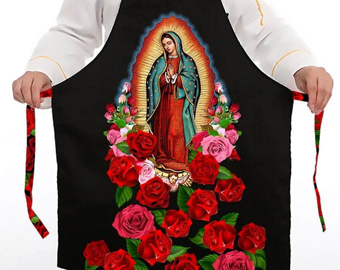 Featured listing image: Our Lady of Guadalupe Apron, Virgin of Guadalupe with Roses Apron, Virgin Mary Gabardine Apron