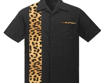 Hawaiian shirt with Leopard Print. Retro Beach style, Rockabilly shirt, Aloha shirt, Party shirt