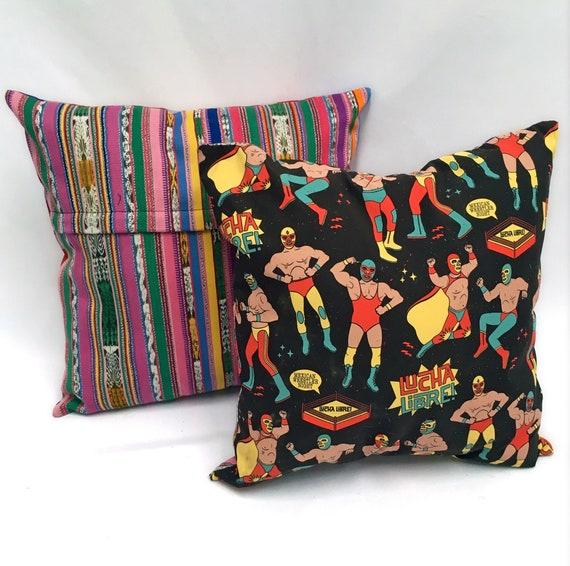 """Wrestler Funny Pillow Cover, 18"""" x 18"""" Decorative Throw Pillow, Mexican Lucha Libre"""