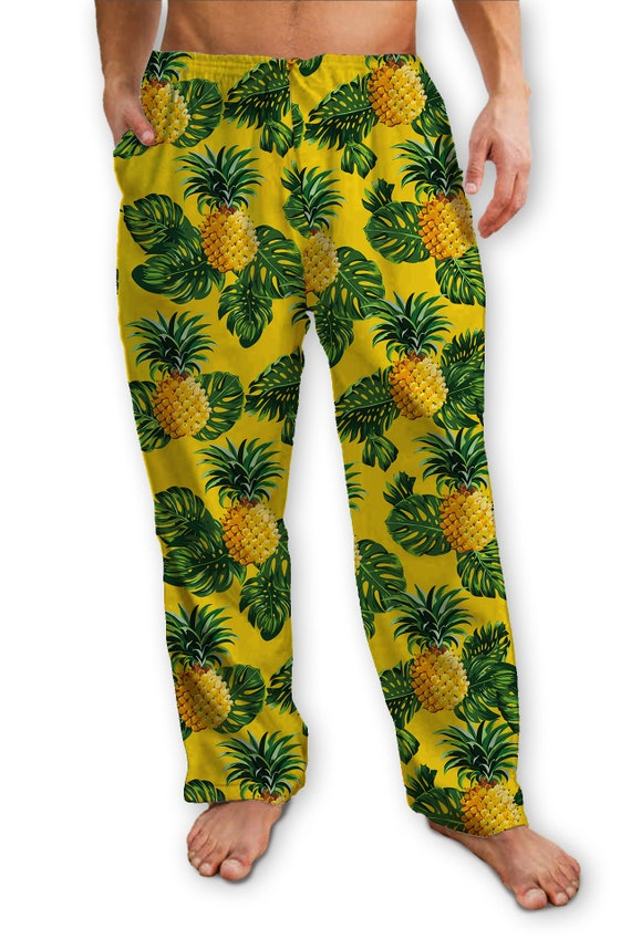 Yellow Pineapple Print Lounge Pants/Pajama Bottom, Soft T-shirt Jersey with Drawstring ties,