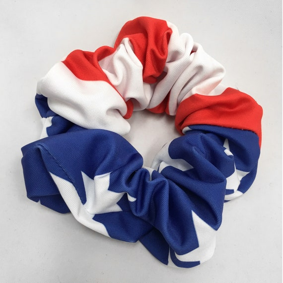 USA Flag Scrunchie - 4th of July Scrunchies Pack - Hair Ties - Top Knot - Americana - 90s Fashion