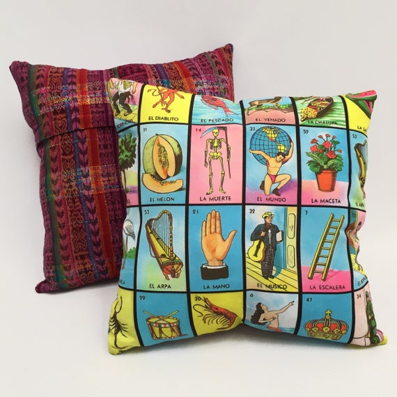 "Mexican Lottery Pillow Cover, 18"" x 18"" Loteria Decorative Throw Pillow"