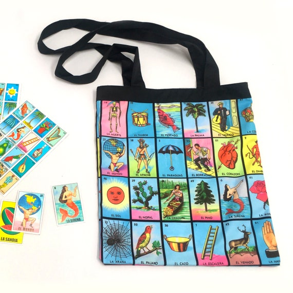 Mexican Lottery Tote Bag, Mexican Loteria Bingo Shopping Bag for the Beach, Books, Shopping or Diapers.