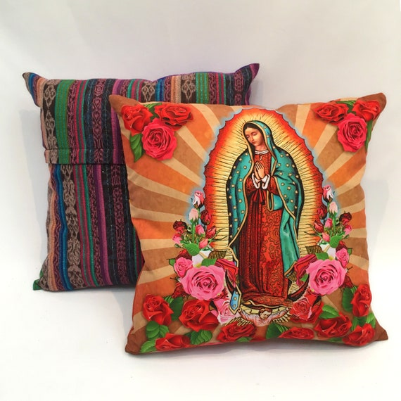 "Our Lady of Guadalupe Throw Pillow Cover, 18"" x 18"" Virgin Mary Decorative Pillow Cover"