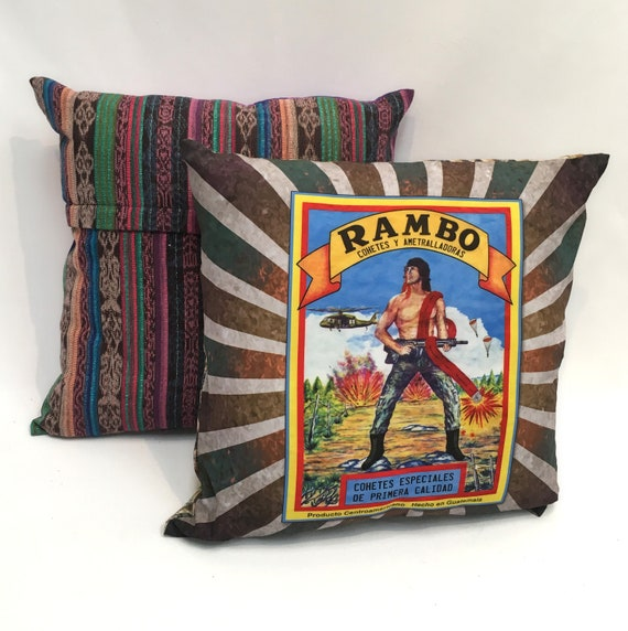 "Funny Pillow Cover, 18"" x 18"" Decorative Throw Pillow, Rambo Vintage Firecracker Label"