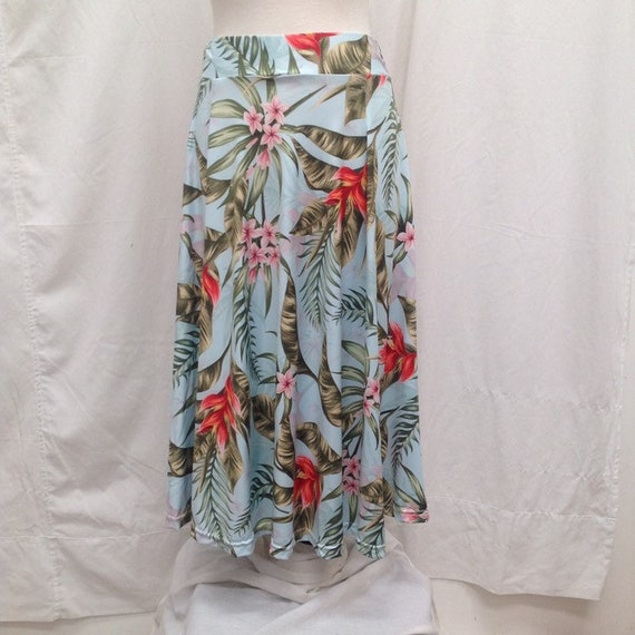 Women's Skirt with Tropical Light Green & Coral Pink Flower Print