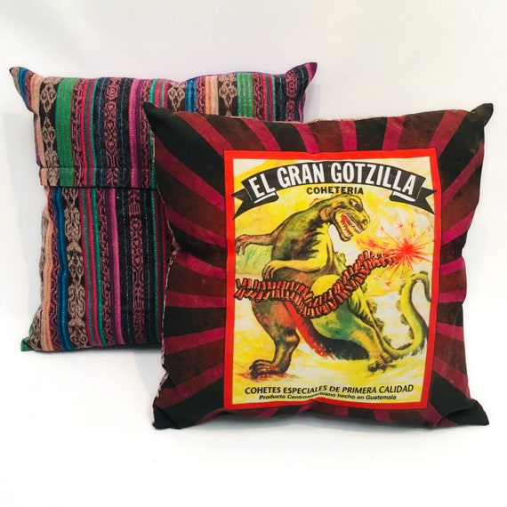 "Funny Pillow Cover, 18"" x 18"" Decorative Throw Pillow, Godzilla Vintage Firecracker Label"